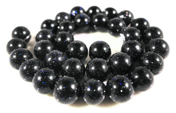 Blue Goldstone Beads 5mm-6mm Round Sparkly Dark Blue Man Made Faux Gemstone Beads on a 7 1/4 Inch Strand with 32 Beads