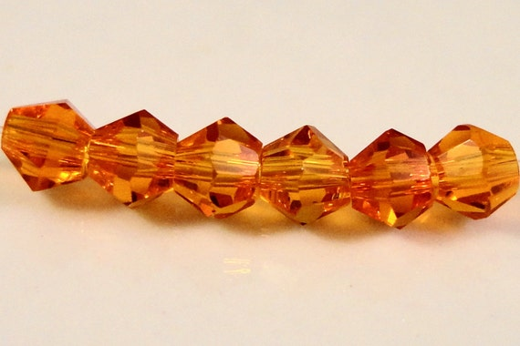 Bicone Crystal Beads 3mm Orange Crystal Beads, Tiny Faceted Chinese Crystal Glass Beads for Jewelry Making 100 Loose Beads per Package