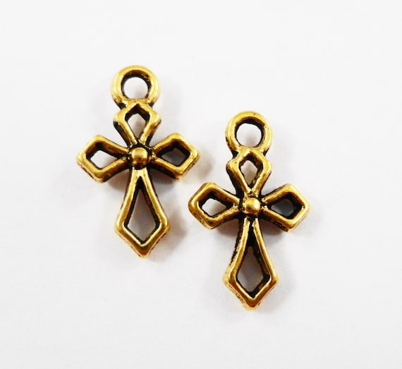 Gold Cross Charms 17x10mm Antique Gold Cross Pendants, Small Religious Charms, Catholic Charms, 2 Sided Metal Charms, Bracelet Charms, 10pcs