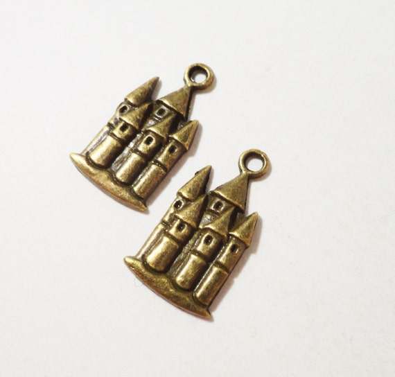 Bronze Castle Charms 22x12mm Antique Brass Castle Pendants, Sand Castle Charms, Fairy Tale Charms, Palace Charms for Jewelry Making, 10pcs