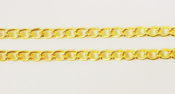 Gold Metal Chain 3x2mm Yellow Gold Tone Metal Small Curb Link Unfinished Iron Chain Jewelry Making Supplies 1 Meter (3ft)