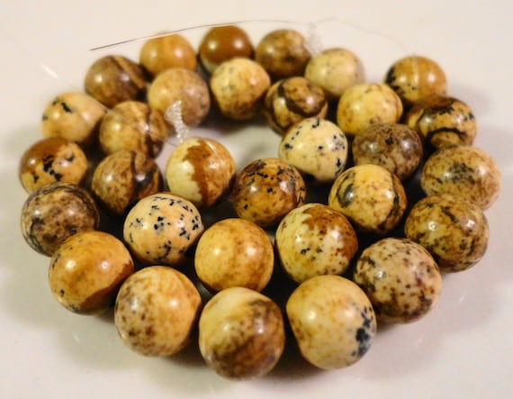 Picture Jasper Gemstone Beads 6mm Round Natural Brown Stone Beads for Jewelry Making on a 7 1/4 Inch Strand with 30 Beads