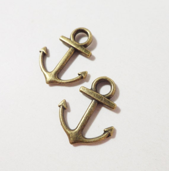 Ship Anchor Charms 18x14mm Antique Brass Metal (Bronze) Double Sided Anchor Pendants, Nautical Charms, Jewelry Making, Craft Supplies, 10pcs