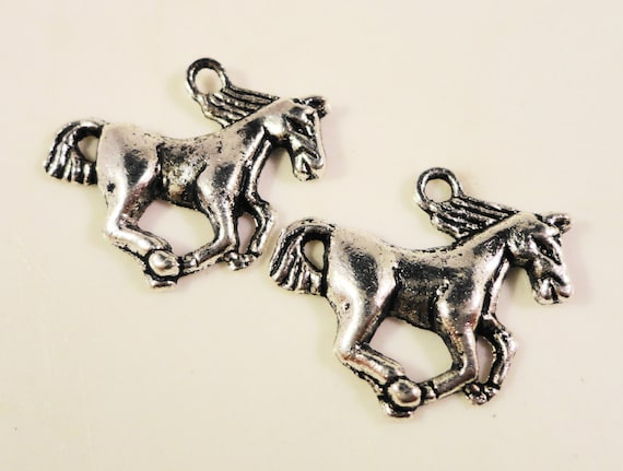 Silver Horse Charms 21x16mm Antique Silver Tone Metal Horse Mustang Stallion Animal Pony Western Charm Pendant Jewelry Making Findings 10pcs