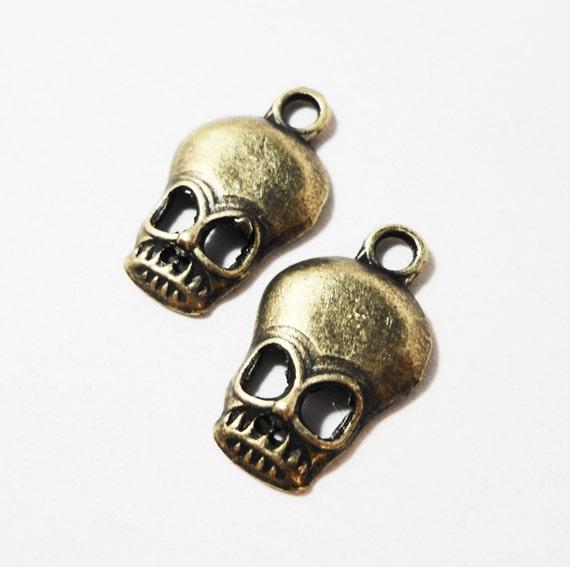 Bronze Skull Charms 18x11mm Antique Brass Metal Skeleton Charms, Skull Pendants, Halloween Charm, DIY Jewelry Making Craft Supplies 10pcs
