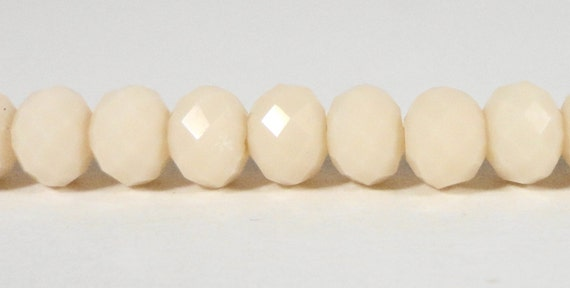 Rondelle Crystal Beads 6x4mm (4x6mm) Opaque Bisque Ivory Cream Faceted Chinese Crystal Glass Beads on a 9 Inch Strand with 49 Beads