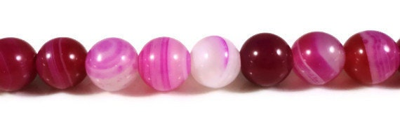 "15"" Strand Pink Agate Gemstone Beads 6mm Round Fuchsia Hot Pink Striped Agate Dyed Stone Beads on a Full 15 Inch Strand with 62 Beads"