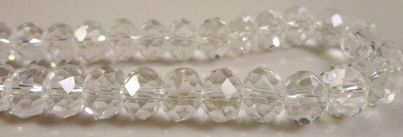 Clear Rondelle Crystal Beads 8x6mm (6x8mm) Faceted Chinese Crystal Glass Abacus Beads for Jewelry Making on an 8 Inch Strand with 35 Beads
