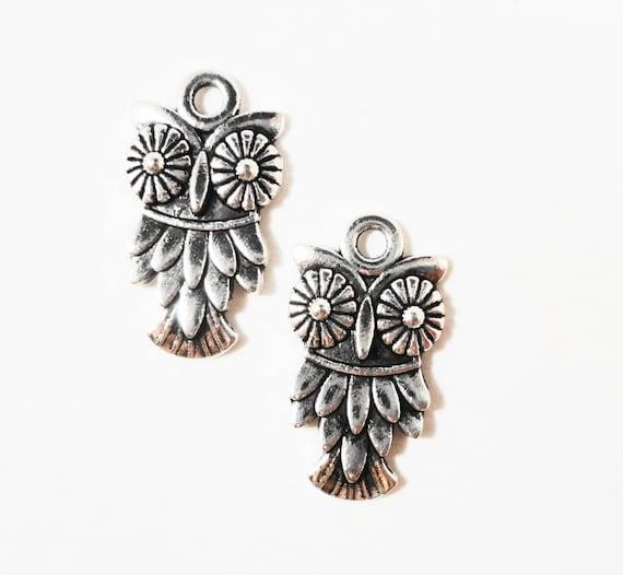 Silver Owl Charms 19x10mm Antique Tibetan Silver Metal Bird Charms, Silver Owl Pendants, DIY Jewelry Making Craft Supplies 10pcs