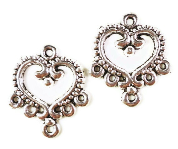 Heart Earring Findings 22x19mm Antique Silver Tone Metal Heart Chandelier Earring Connector Jewelry Making Findings 3 Pairs (6pcs)