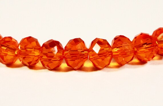 Orange Rondelle Crystal Beads 3x2mm (2x3mm) Deep Orange Tiny Faceted Chinese Crystal Glass Beads for Jewelry Making 100 Loose Beads per Pack