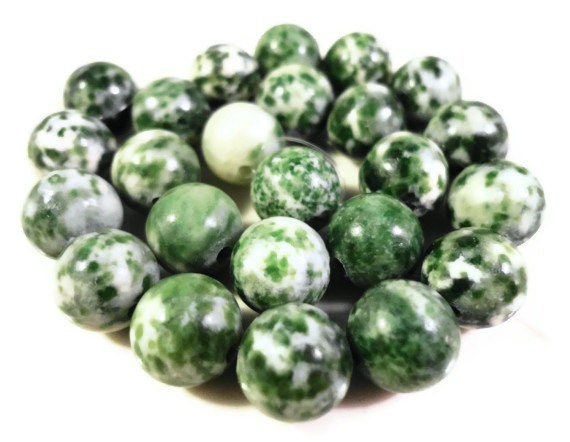 Tree Agate Gemstone Beads 8mm Round Green and White Spotted Natural Semiprecious Stone Beads on a 7 1/2 Inch Strand with 23 Beads
