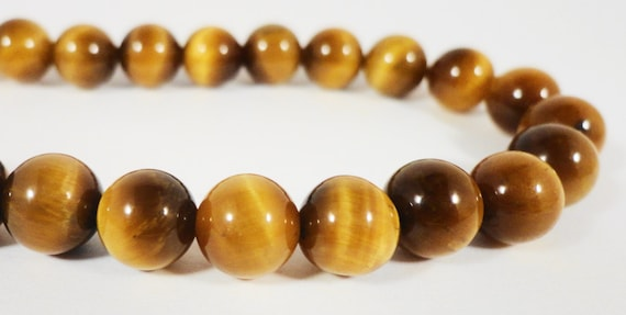 """Tiger Eye Gemstone Beads 8mm Round Tigers Eye Stone Beads, Natural Brown Gemstone Beads for Jewelry Making on a 7 1/4"""" Strand with 23 Beads"""