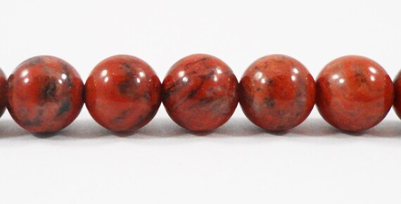 Red Jasper Beads 8mm Round Jasper Stone Beads, Red Sesame Jasper Beads, Natural Red Gemstone Beads on a 7 1/4 Inch Strand with 23 Beads