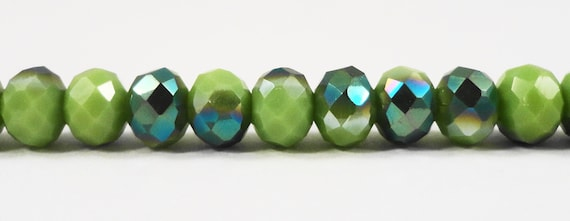 "Crystal Rondelle Beads 6x4mm Opaque Olive Green Half Metallic Blue AB Crystal Beads Chinese Crystal Glass Beads on a 9"" Strand with 50 Beads"