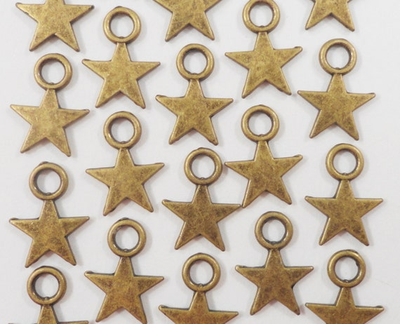 Bronze Star Charms 11x8mm Antique Brass Star Charms, Tiny Star Pendants, 5 Pointed Star Charms, Metal Charms, Craft Supplies, 20pcs