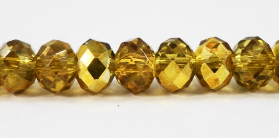 """Crystal Rondelle Beads 6x4mm Half Transparent Topaz Yellow Half Metallic Gold Chinese Crystal Glass Beads on an 8 1/2"""" Strand with 50 Beads"""