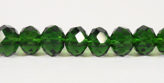 """Rondelle Crystal Beads 6x4mm (4x6mm) Dark Green Faceted Chinese Crystal Glass Beads for Jewelry Making on an 8 3/4"""" Strand with 49 Beads"""