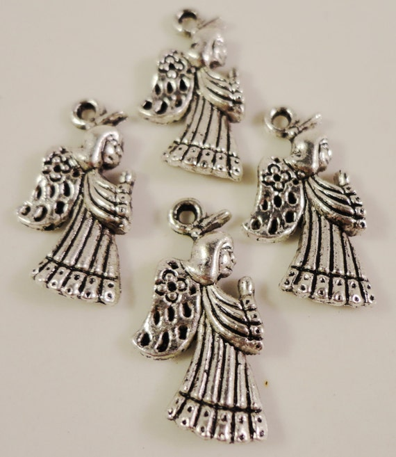Silver Angel Charms 21x11mm Antique Silver Tone Metal Angel Religious Christmas Charm Pendant Findings 10pcs