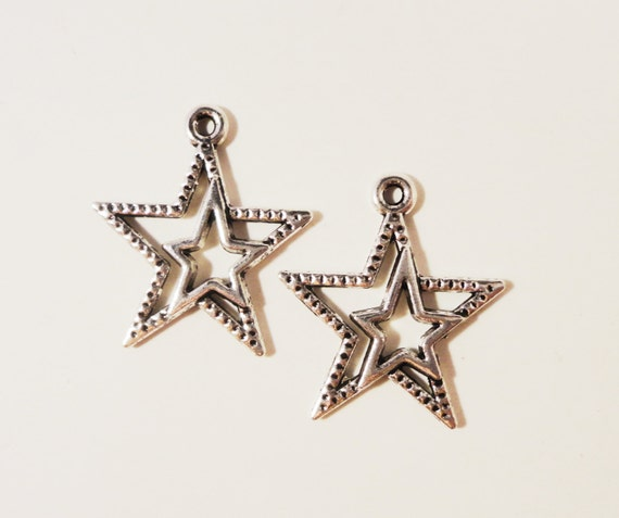 Silver Star Charms 23x20mm Antique Silver Metal Double Star Celestial Charm Pendant Jewelry Making Jewelry Findings Craft Supplies 10pcs