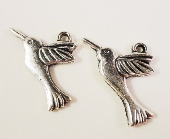 Silver Bird Charms 25x15mm Antique Silver Tone Metal Hummingbird Charms, Small Bird Pendants, Jewelry Making Supplies, Jewelry Charms, 10pcs