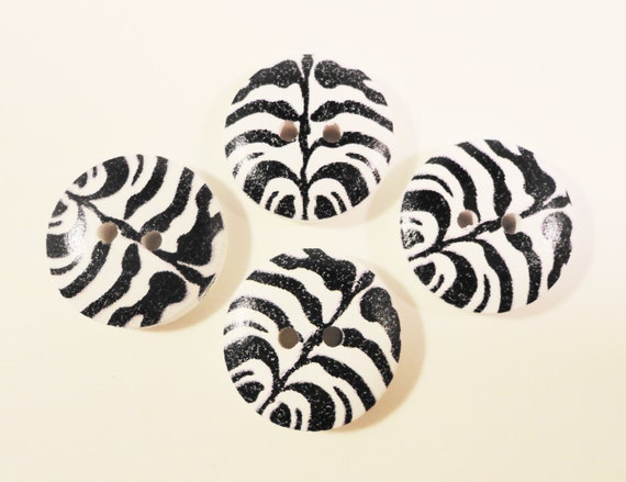 Zebra Print Buttons 18mm Black and White Wood Wooden Painted 2 Hole Buttons for Crafts, Sewing, Jewelry Making and Scrapbooking 10pcs