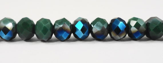 "Opaque Crystal Beads 6x4mm Dark Forest Green Half Metallic Blue Rondelle Beads, Chinese Crystal Glass Beads on a 9"" Strand with 50 Beads"