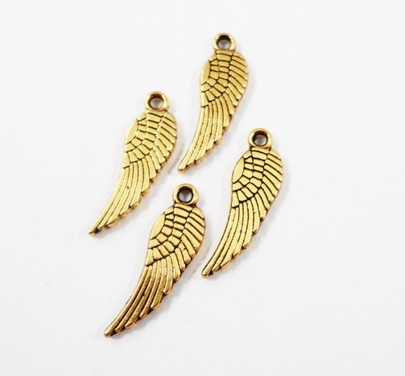 Gold Feather Charms 17x5mm Antique Gold Feather Charms, Tiny Gold Feather Pendants, Gold Wing Charms, Metal Charms for Jewelry Making, 15pcs