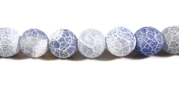 Blue Agate Gemstone Beads 8mm Round Light Periwinkle Blue Matte Frosted Cracked Fire Agate Stone Beads on a 7 1/4 Inch Strand with 24 Beads