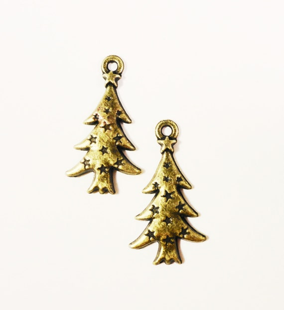 Christmas Tree Charms 26x14mm Antique Brass Tone Metal (Bronze) Holiday Charm Christmas Tree Pendant Jewelry Jewellery Making Findings 10pcs