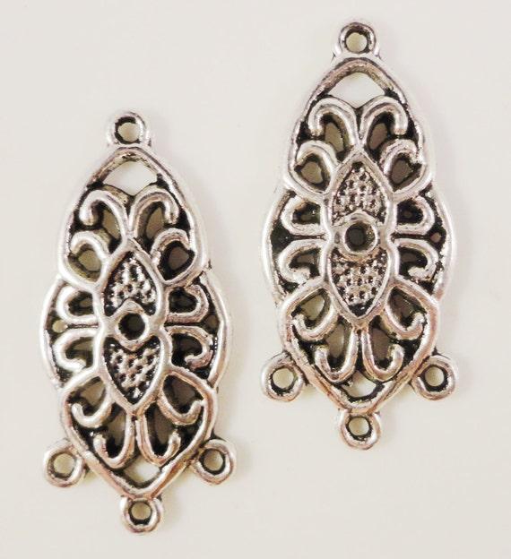 Chandelier Earring Connectors 25x11mm Antique Silver Metal Earring Findings Lead Free Jewelry Making Jewellery Findings 3 Pairs (6pcs)