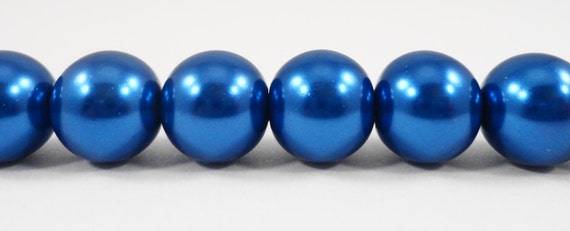 "Blue Pearl Beads 10mm Round Glass Pearl Beads, Dark Blue Crystal Pearl Beads, Imitation Pearl Beads on a 7 1/2"" Stand with 20 Beads"