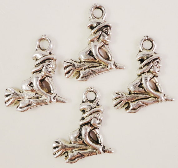 Silver Witch Charms 16x14mm Antique Silver Tone Metal Halloween Charm Pendant Lead Free Jewelry Findings 10pcs
