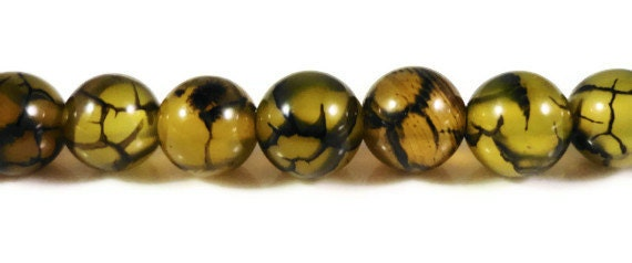 "15"" Strand Dragons Vein Agate Beads 6mm Round Agate Stone Beads, Black and Yellow Fire Agate Gemstone Beads on a Full Strand with 62 Beads"