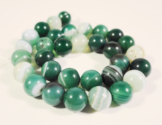 Agate Gemstone Beads 6mm Round Green Striped Agate Stone Beads for Jewelry Making on a 7 1/4 Inch Strand with 31 Beads