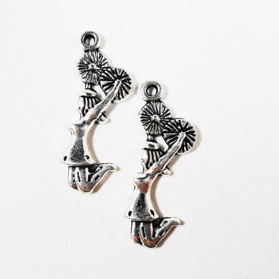 Silver Cheerleader Charms 27x9mm Antique Tibetan Silver Metal Cheerleading Charms Cheerleader Pendant DIY Jewelry Making Craft Supplies 10pc