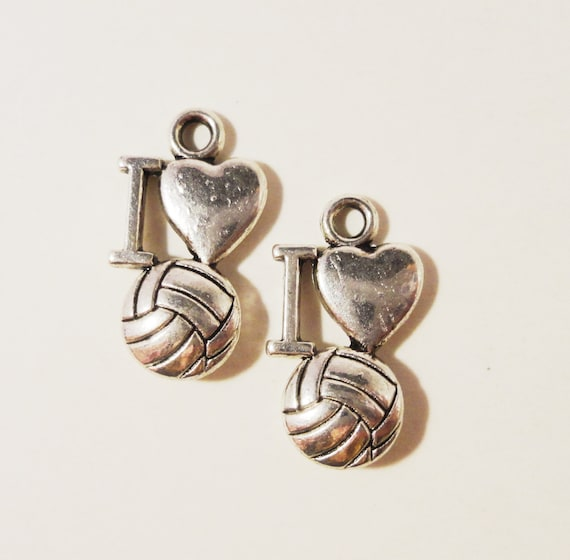 Silver Volleyball Charms 17x7mm Antique Silver Metal I Love Volleyball Heart Sports Charm Volleyball Pendants Jewelry Making Supplies 10pcs