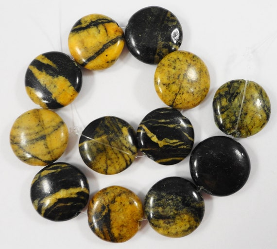 "Yellow Turquoise Beads 15mm Coin Beads, Black and Yellow Gemstone Beads Beading Supplies Serpentine Stone Beads on a 7"" Strand with 12 Beads"