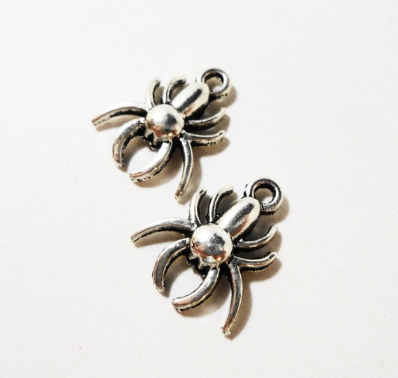 Silver Spider Charms 16x14mm Antique Silver Spider Charm, Silver Spider Pendants, Metal Charms, Insect Charms, Halloween Jewelry Charms 10pc