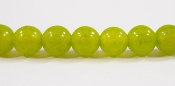 """Olive Green Jade Beads 6mm Round Candy Jade Stone Beads, Dyed Mountain Jade Gemstone Beads for Jewelry on a 7 1/4"""" Strand with 32 Beads"""
