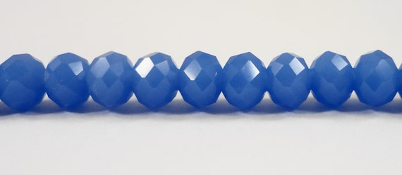 "Blue Crystal Beads, 6x4mm Opaque Dark Periwinkle Blue Crystal Rondelle Beads, Chinese Crystal Glass Beads on a 9"" Strand with 50 Beads"