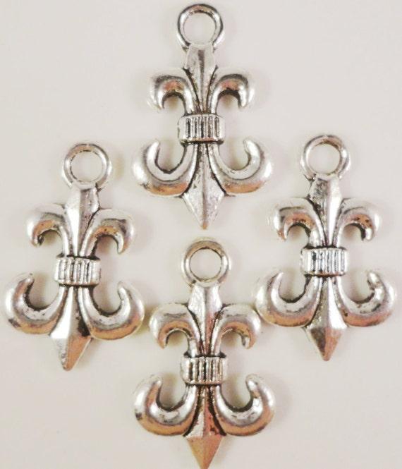 Fleur De Lis Charms 14x23mm Antique Silver Tone Metal Fleur De Lis Pendant Lead Free Charms Nickel Free Jewelry Findings 10pcs