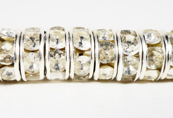 Rhinestone Rondelle Beads 6mm Clear Silver Plated Metal Acrylic Rhinestone Crystal Spacer Beads for Jewelry Making 50 Loose Beads per Pack