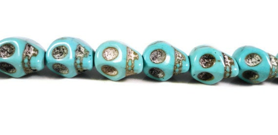 Turquoise Skull Beads 10x8mm Turquoise Blue (Dyed) Howlite Gemstone Semiprecious Stone Skeleton Beads on a 7 1/2 Inch Strand with 20 Beads