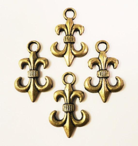 Bronze Fleur De Lis Charms 23x14mm Antique Brass Anchor Etsy