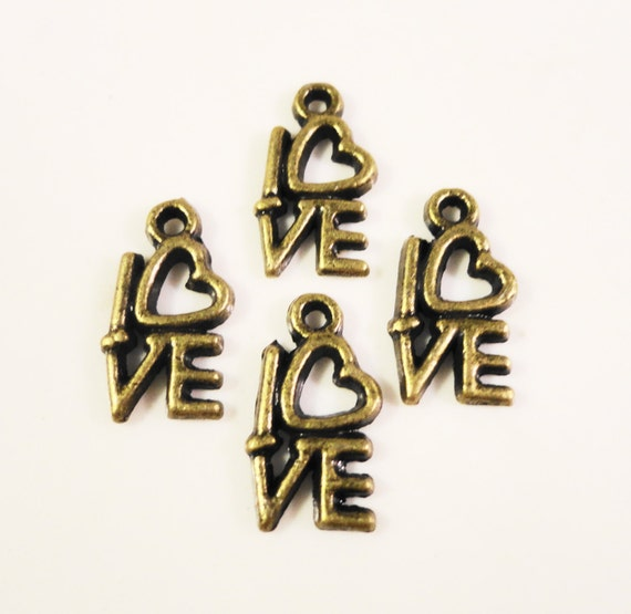 Bronze Love Charms 14x7mm Antique Brass Tone Metal Heart Valentines Day Charm Pendant Jewelry Making Jewelry Findings 10pcs
