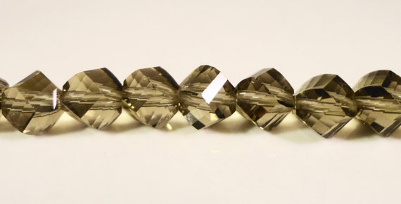 Grey Helix Crystal Beads 8mm Smokey Smoke Gray Faceted Chinese Crystal Beads on a 9 Inch Strand with 33 Beads