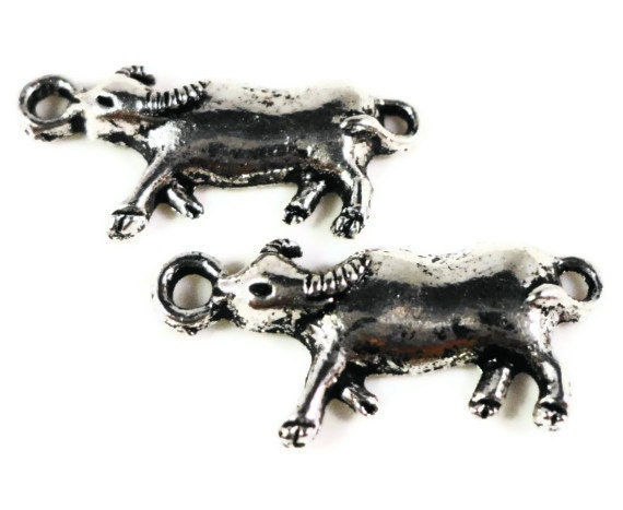 Silver Ox Charms 23x10mm Antique Silver Ox Pendants, Metal Charms, Bull Charms, Cattle Charms, Animal Charms Lead Free Findings 10pcs