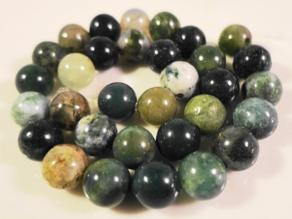 Moss Agate Gemstone Beads 6mm Round Moss Agate Beads, Green Stone Beads, Natural Gemstone Beads on a 7 1/4 Inch Strand with 30 Beads