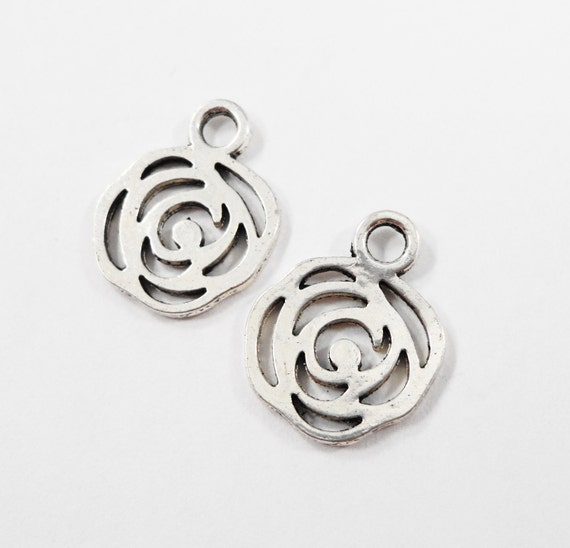 Silver Rose Pendants 16x13mm Antique Silver Rose Charms, Silver Flower Charms, Flower Pendants, Double Sided Metal Charms for Jewelry, 10pcs